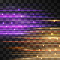 Laser speed glow vector illumination. Motion effect light blinking on transparent background. Light energy oscillating stream. Power neon flow of blurred high speed particles, space shine.