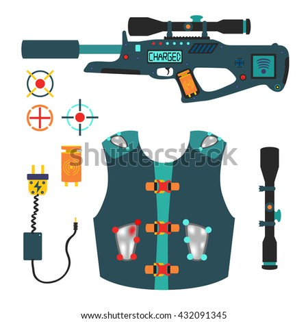 laser tag game vector set in