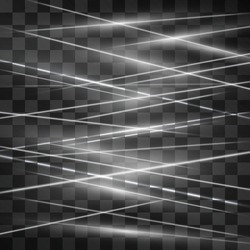 Laser white signaling room glow vector . Crossed light streams blinking on transparent background. Light energy rays illustration for modern hi tech design. Power silver flow of high speed particles.