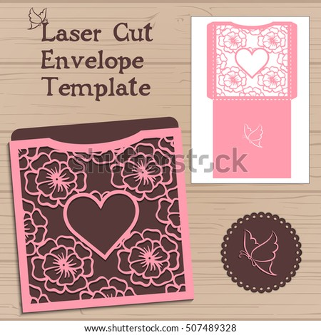 Lasercut vector wedding invitation template.  envelope with flowers for laser cutting. Lace gate folds.