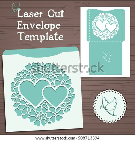 Lasercut vector wedding invitation template. Wedding invitation envelope with flowers for laser cutting. Lace gate folds.Laser cut vector.
