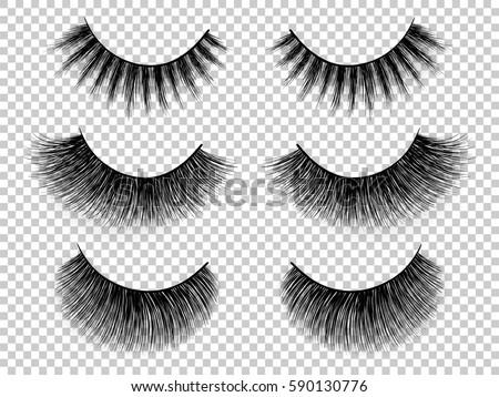 Lashes set. False eyelashes collection. Woman beauty product vector. False lashes realistic. Hand drawn female eyelashes. Trendy fashion illustration for mascara pack or beauty products design.