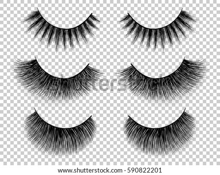 Lashes set. False eyelashes collection. Woman beauty product vector. Hand drawn female eyelashes. Trendy fashion illustration for mascara pack or beauty products design.