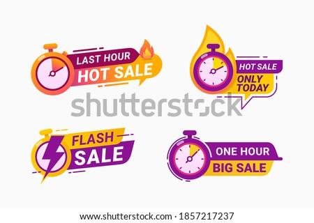 Last hour offer badge. sale countdown banner badge. hot sales limited time vector illustration