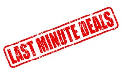 LAST MINUTE DEALS red stamp text on white