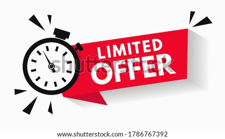 Last minute limited offer with clock for sale promo, button, logo or banner or red background. Hurry up sale label with time countdown for limited offer sale or exclusive deal. Special offer badge V2