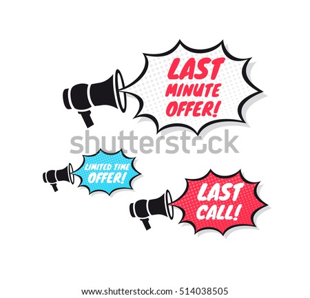 Last Minute Offer, Limited Time Offer & Last Call Megaphone Icons