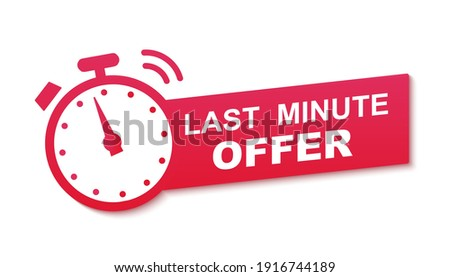 Last minute offer watch countdown red banner design template for marketing. Last chance promotion or retail for store online shop, website. Minute go sale price offer promo deal timer, minute only.
