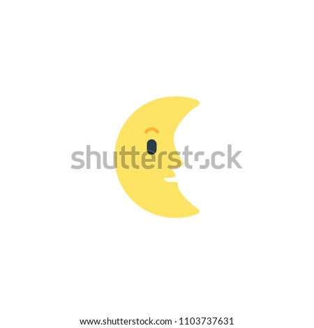 Last Quarter Moon with Face Vector Flat Icon