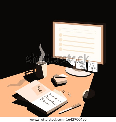 Late in the evening the light from the computer falls on the desktop. Desk of a detective, investigator, night shift worker or student. Home office workplace.  Flat vector illustration.