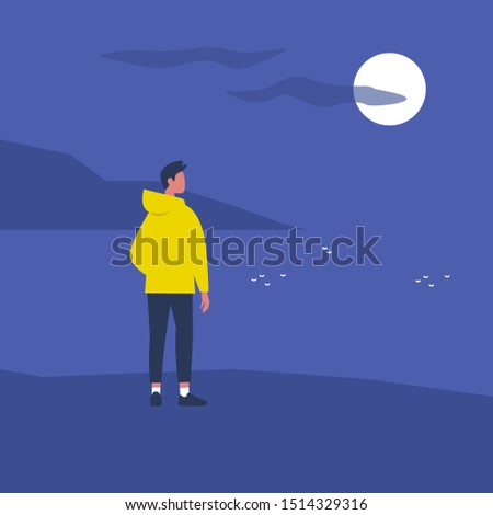 Late night walk. Nature. Moonlight. Travel. Solitude. Flat editable vector illustration, clip art. Young male character looking at water Foto stock ©