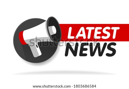 Latest news breaking report. Announcement megaphone. Daily newspaper or news report banner icon concept. Vector illustration.