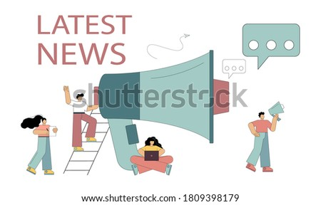Latest news concept. Little people shout on a megaphone with the latest news word, public notification. Flat vector illustration isolated on white background.