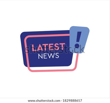 Latest news label vector flat style banner/ icon. Latest news megaphone banner vector illustration on white background.