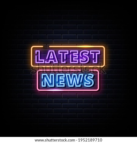 Latest News Neon Signs Style Text Vector