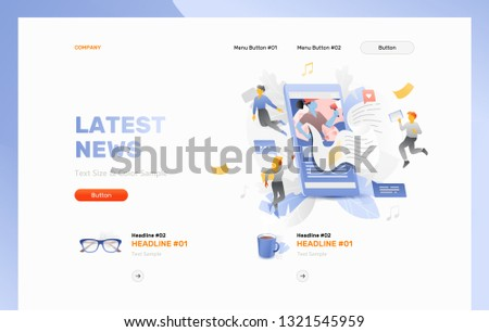 Latest news reading on smartphone. Website header template with little people characters over a news flow sticking out of cell phone screen. News app concept.