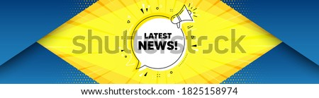 Latest news symbol. Background with offer speech bubble. Media newspaper sign. Daily information. Best advertising coupon banner. Latest news badge shape message. Abstract yellow background. Vector