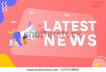 Latest news vector illustration concept, people shout on megaphone with Latest News word , can use for, landing page, template, ui, web, mobile app, poster, banner, flyer