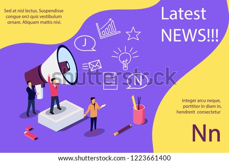 Latest news vector isometric illustration concept, people shout into the megaphone with Latest News words. Concept for, landing page, template, ui, web, mobile app, poster, banner, flyer