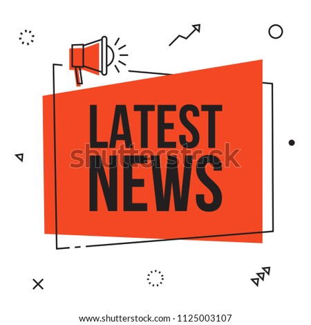 Latest news, vector red sign illustration isolated on white background with loudspeaker, new modern label design. Business  advertising web icons, promotion announce tag, sticker, announcement.