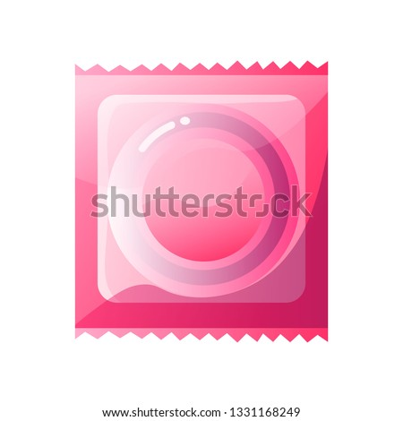latex condom in pink package
