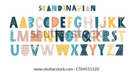 Latin alphabet in cartoon style. Characters in nordic scandinavian style. Cute colorful vector English alphabet, funny hand drawn typeface, ABC uppercase. Good for cards, posters, nursery designs