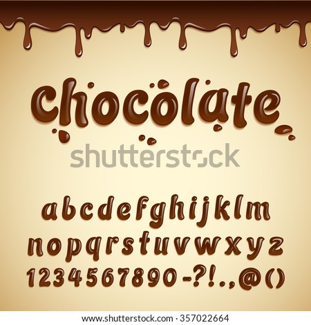 Latin alphabet made of dark chocolate, decorated with melted chocolate border. Liquid chocolate font style. Vector illustration