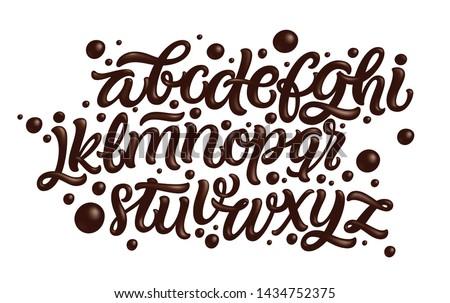 Latin alphabet made of dark melted chocolate. Liquid font style. Vector.