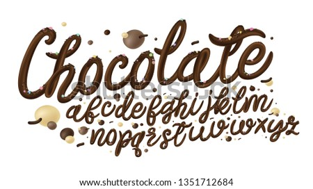 Latin alphabet made of dark melted chocolate with border. Liquid font style isolated on white background. Vector.