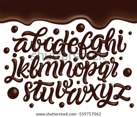 Latin alphabet made of dark melted chocolate with border. Liquid font style. Vector.