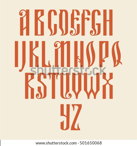 Latin alphabet, Russian style retro typography design fonts text sign letters collection art