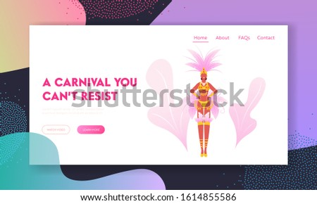 Latin America Culture Website Landing Page. Girl in Festival Costume with Feathers Dancing at Carnival in Rio De Janeiro. Brazilian Samba Dancer Woman Web Page Banner. Cartoon Flat Vector Illustration