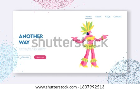 Latin America Culture Website Landing Page. Girl Wearing Festival Costume with Feathers Dancing at Carnival in Rio De Janeiro. Brazilian Samba Dancer Web Page Banner. Cartoon Flat Vector Illustration