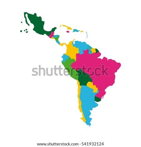 latin america map icon over white background. colorful design. vector illustration