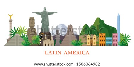 Latin America Skyline Landmarks Flat Style, Famous Place and Historical Buildings, Travel and Tourist Attraction ストックフォト ©