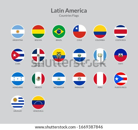 Latin American countries flag icons collection Stok fotoğraf ©