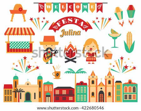 Latin American holiday, the June party of Brazil. Flat illustration with symbolism of the holiday #422680546