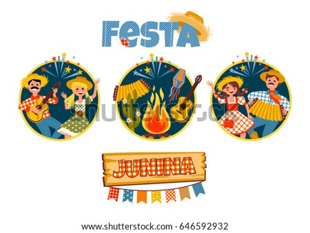 Latin American holiday, the June party of Brazil. Vector illustration with symbolism of the holiday.