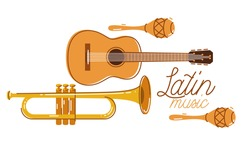 Latin music emblem or logo vector flat style illustration isolated, acoustic guitar logotype for recording label or studio or musical band.