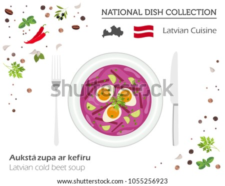 Latvia Cuisine. European national dish collection. Latvian cold beet soup isolated on white, infographic. Vector illustration