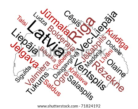 Latvia map and words cloud with larger cities