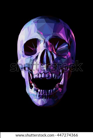 laugh purple skull in low poly