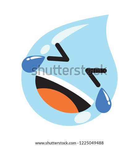 laughing drop of water icon vector. cute emoticon, modern concept, simple style. simple design.