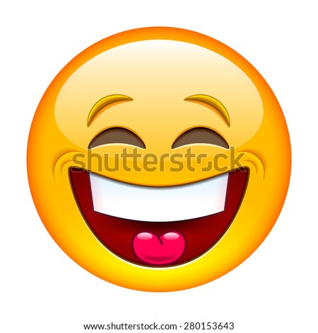 laughing emoticon isolated