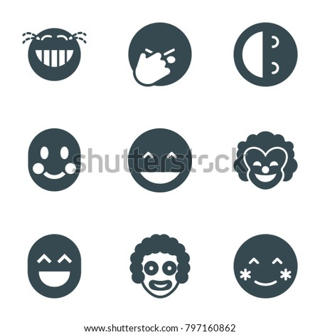 laughing icons set of 9