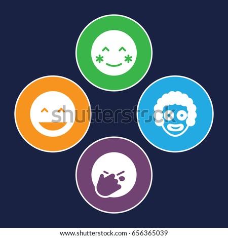 laughing icons set set of 4