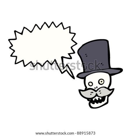 laughing skull in top hat cartoon