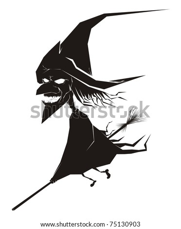 Laughing witch riding a broom stick black halloween vector cartoon