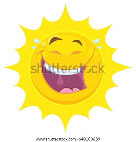Laughing Yellow Sun Cartoon Emoji Face Character With Smiling Expression. Vector Illustration Isolated On White Background