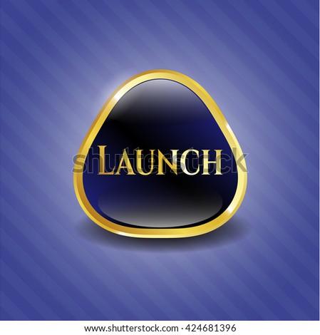 Launch gold shiny badge